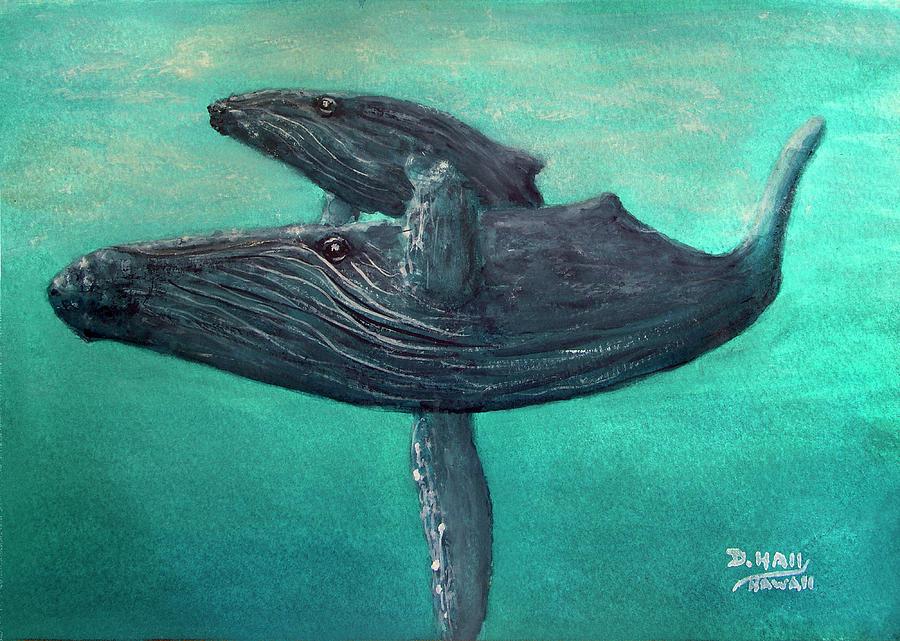 Humpback Painting - Hawaiian Humpback Whales #455 by Donald k Hall