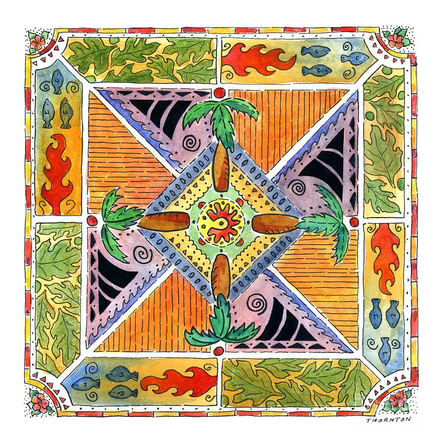 Hawaiian Mandala I - PALM TREES by Diane Thornton
