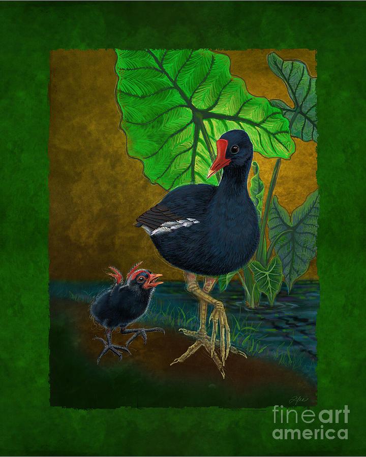 Hawaii Digital Art - Hawaiian Moorhen Or Gallinule by Tammy Yee