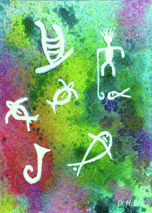 Hawaiian Petroglyph Prints #219 Painting by Donald k Hall