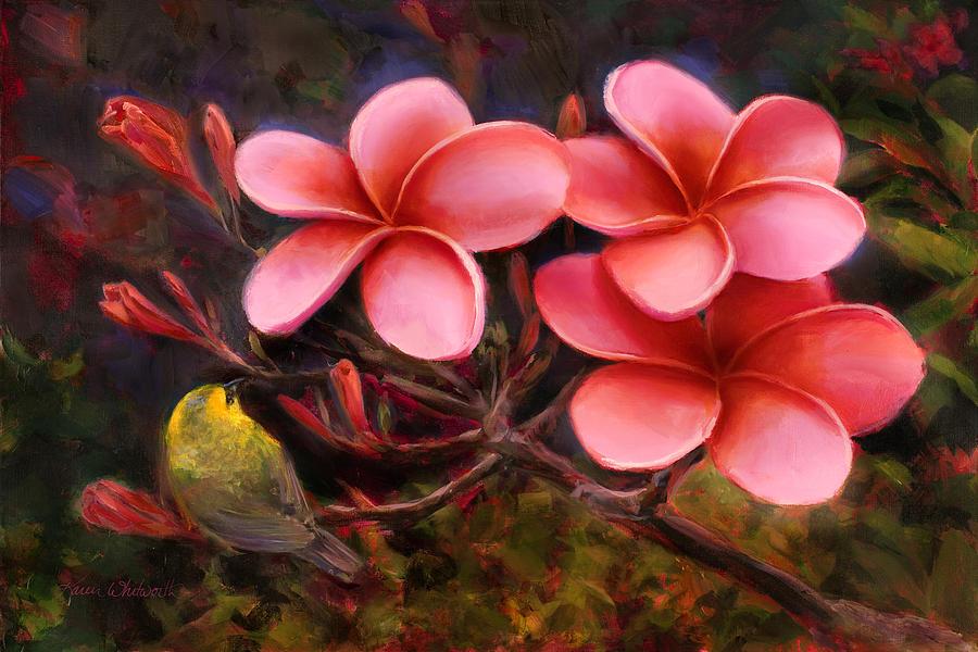 Hawaiian Pink Plumeria and Amakihi Bird by Karen Whitworth