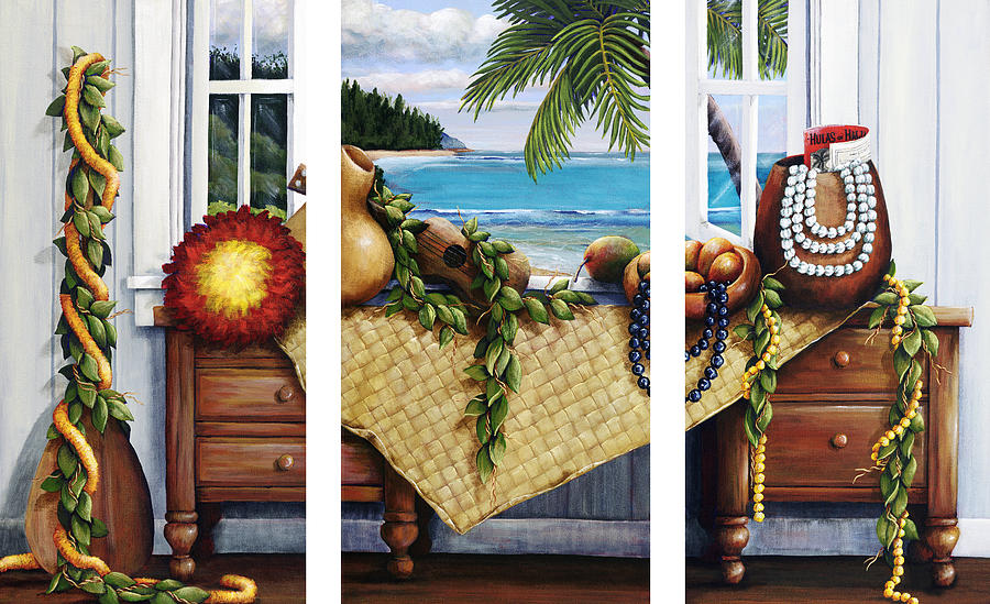 Acrylic Painting - Hawaiian Still Life With Haleiwa On My Mind by Sandra Blazel - Printscapes