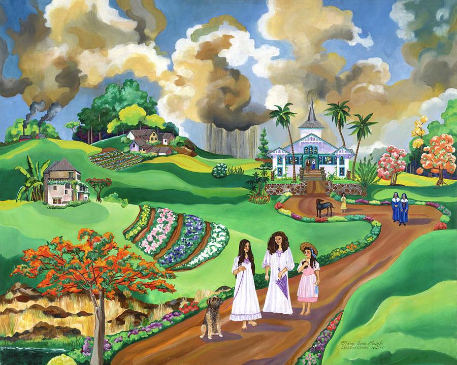 Hawaiian Sunday - 1895 Painting by Mary Ann Gough
