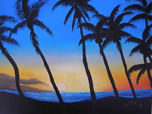 Hawaiian Sunset  1 Painting by Dunbars Local Art Boutique