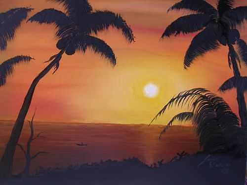 Hawaiian Sunset 2 Painting by Dunbars Local Art Boutique