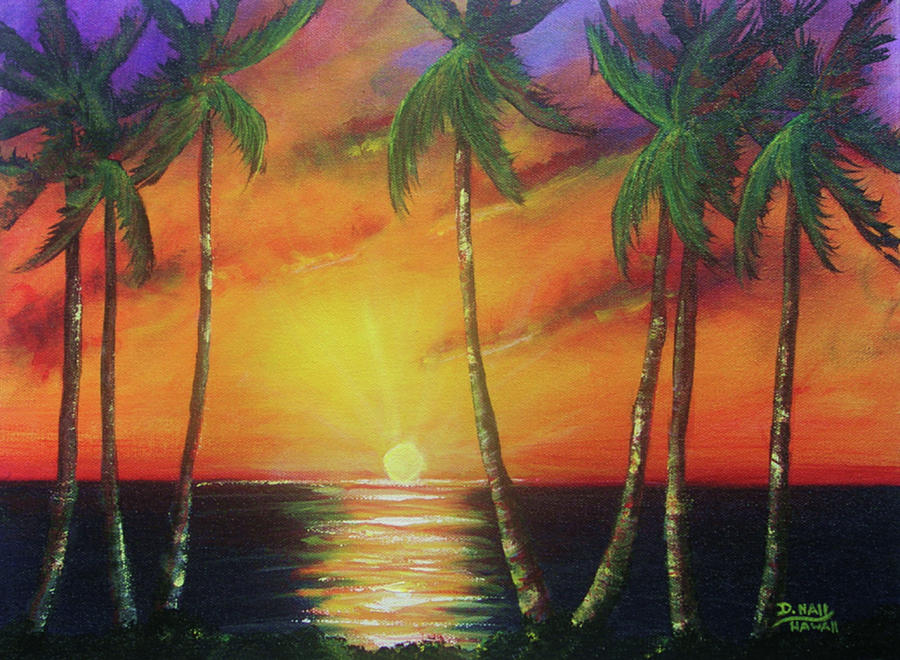 Hawaiian Sunset Painting - Hawaiian Sunset  #329 by Donald k Hall