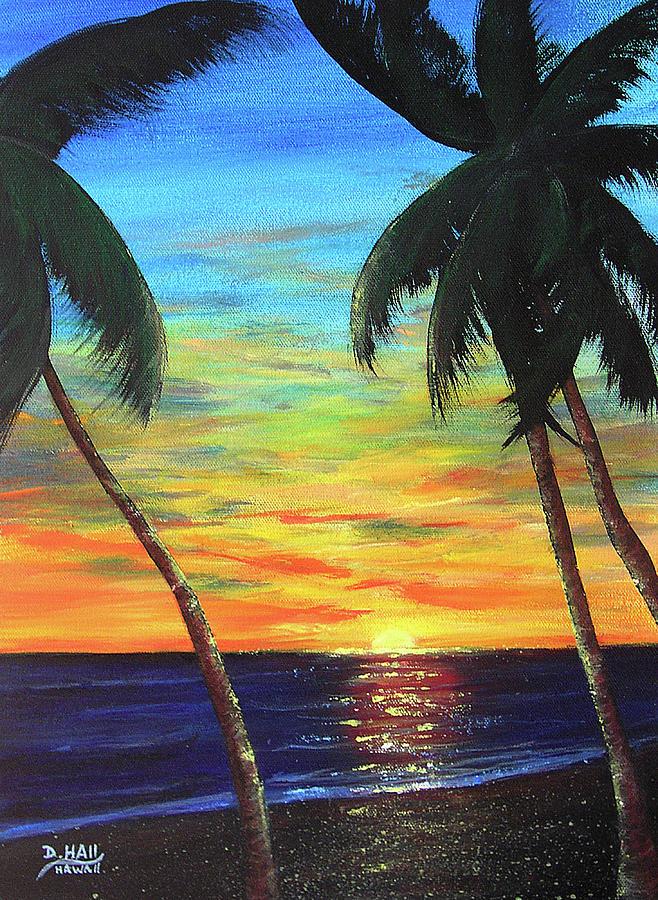 Hawaii Sunset Painting - Hawaiian Sunset #340 by Donald k Hall