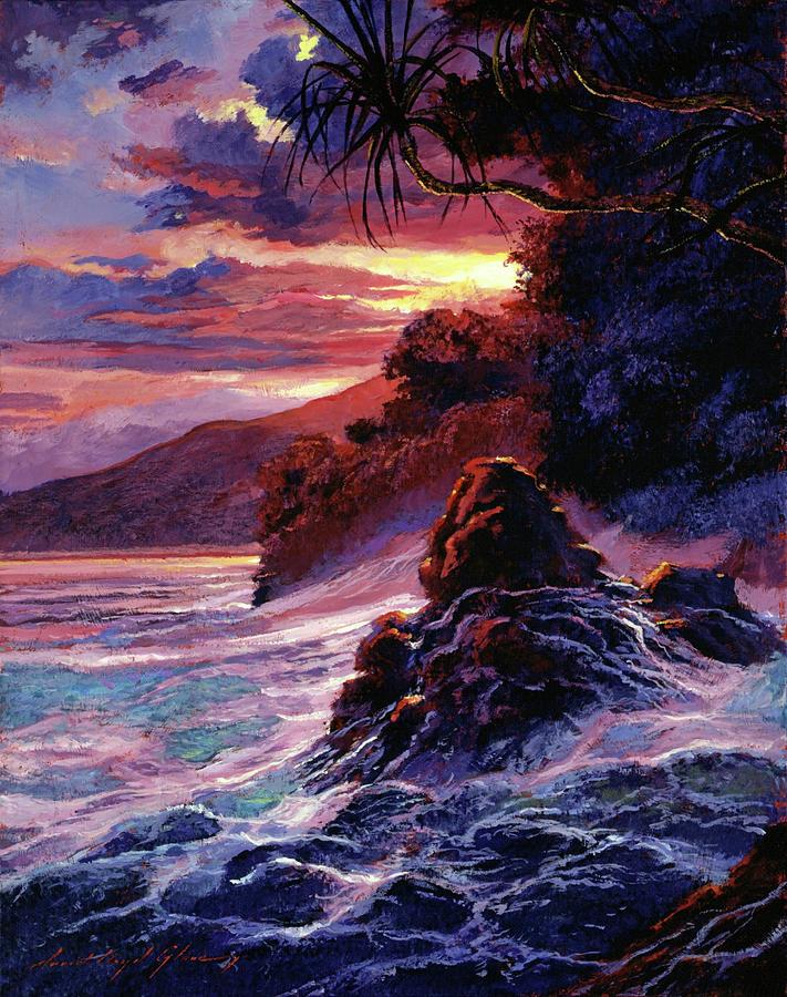 Seascape Painting - Hawaiian Sunset - Kauai by David Lloyd Glover