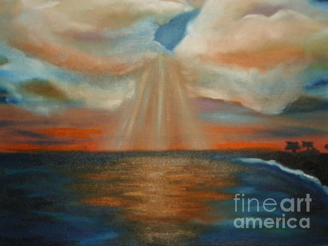 Hawaiian Sunset Painting by Linda Mungerson