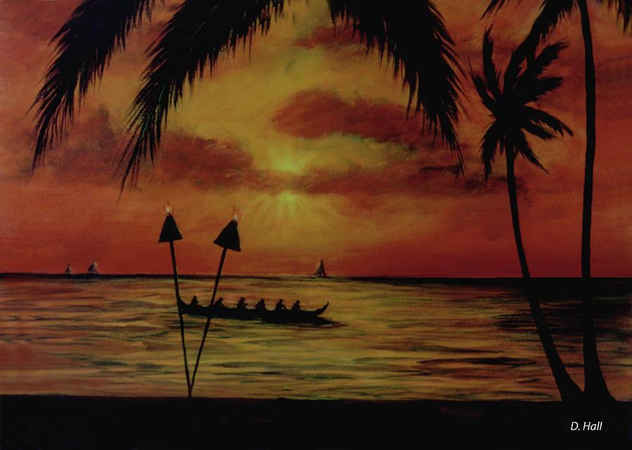 Hawaii Sunset Painting - Hawaiian Sunset Paddlers #283 by Donald k Hall