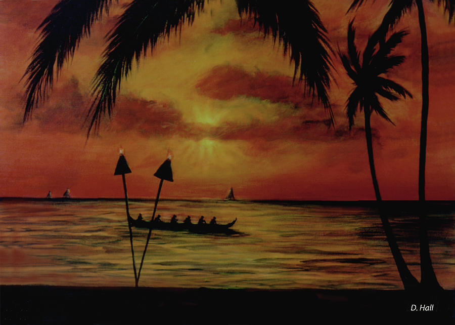 Hawaii Sunset Painting - Hawaiian Sunset Paddlers #283 by Donald k Hall