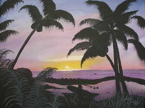 Hawaiian Sunset three Painting by Dunbars Local Art Boutique
