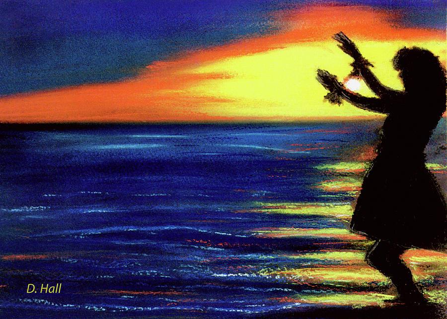 Hawaiian Sunset Pastel - Hawaiian Sunset With Hula Dance  #183, by Donald k Hall