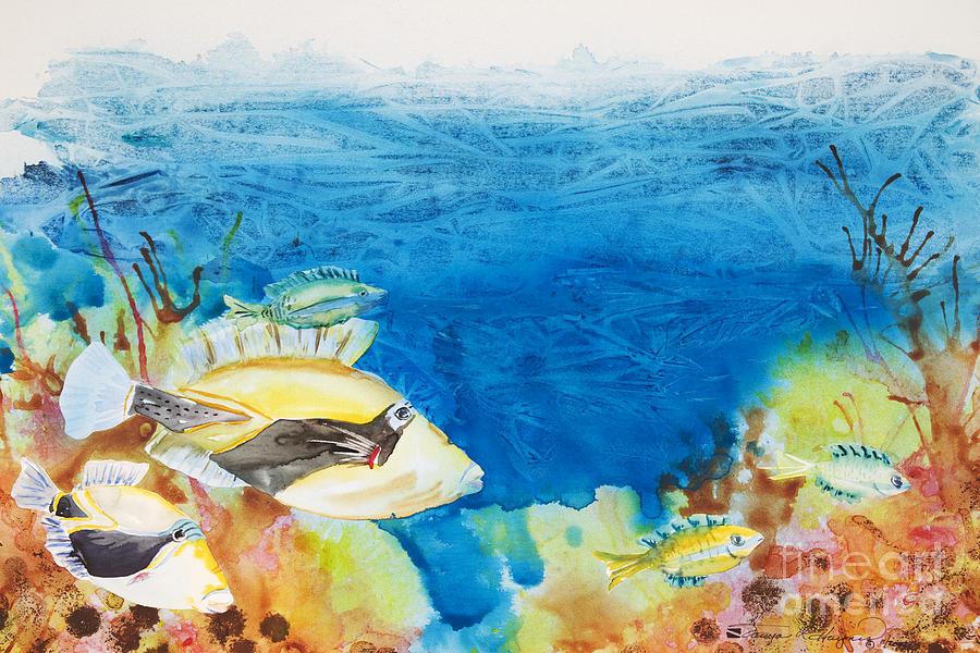 Aquatic Painting - Hawaiian Triggerfish by Tanya L Haynes - Printscapes