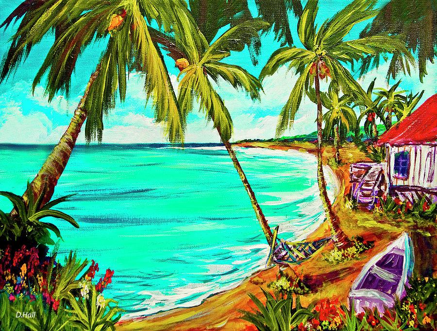 Hawaii Painting - Hawaiian Tropical Beach #355 by Donald k Hall