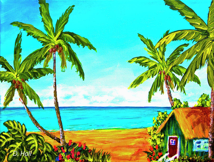 Painting Painting - Hawaiian Tropical Beach #366  by Donald k Hall