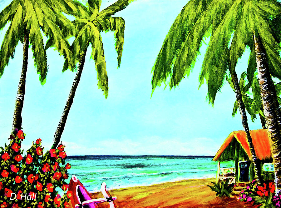 Painting Painting - Hawaiian Tropical Beach #367  by Donald k Hall