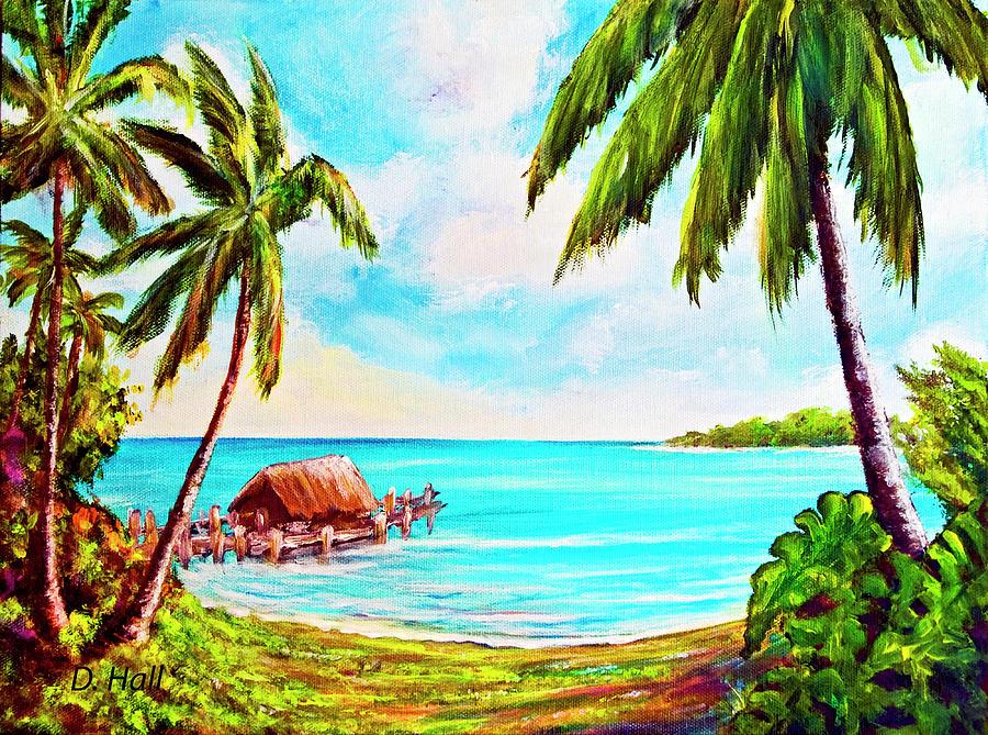 Hawaii Painting - Hawaiian Tropical Beach #388 by Donald k Hall
