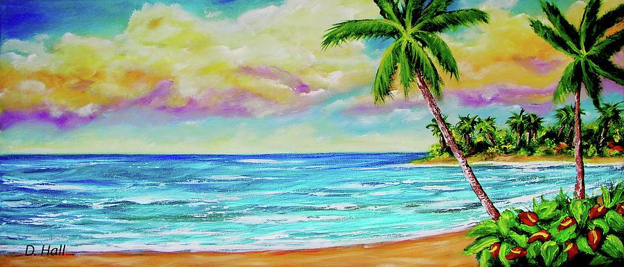 Hawaiian Beach Painting - Hawaiian Tropical Beach #408 by Donald k Hall