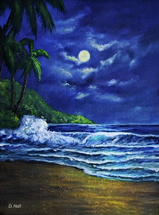 Hawaii Painting - Hawaiian Tropical Ocean Moonscape Seascape #377 by Donald k Hall