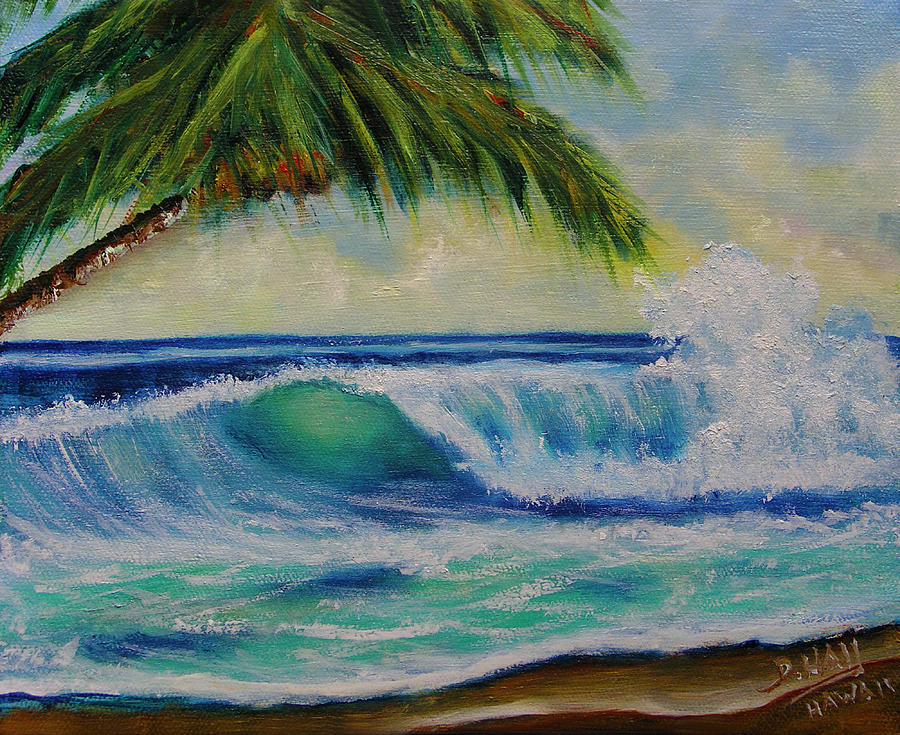 Hawaiian Painting - Hawaiian Tropical Wave Art Print Painting #424 by Donald k Hall