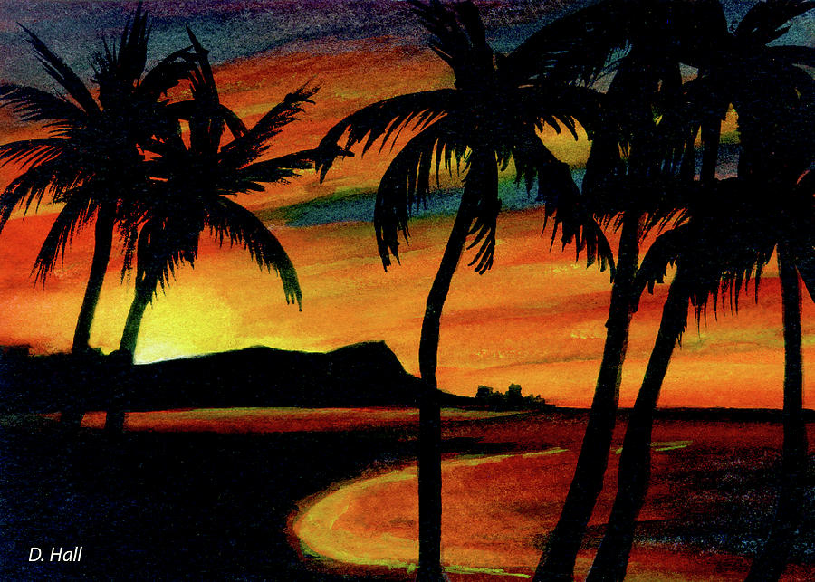 Hawaii Sunset Painting - Hawaiian Waikiki Sunrise Over Diamond Head  #266 by Donald k Hall