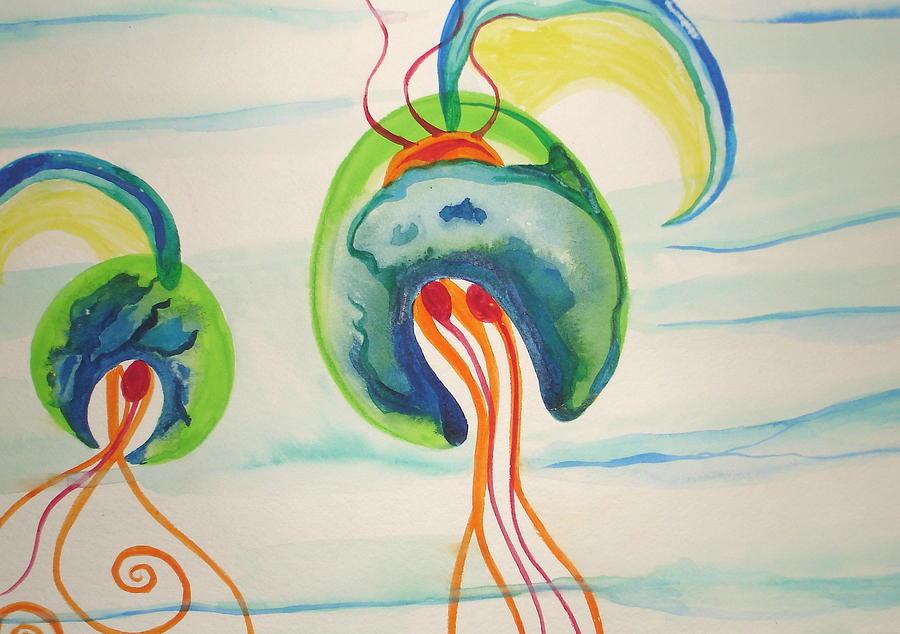 Jellyfish Painting - Hawaiian Warrior Jellyfish by Erika Swartzkopf