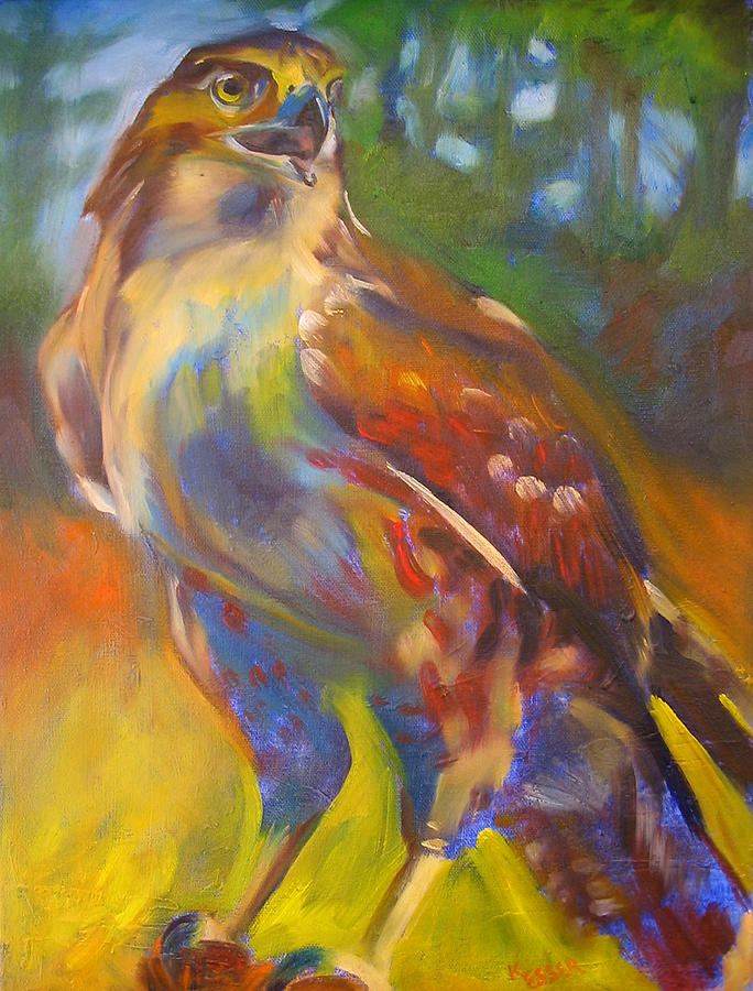 Bird Painting - Hawk by Kaytee Esser