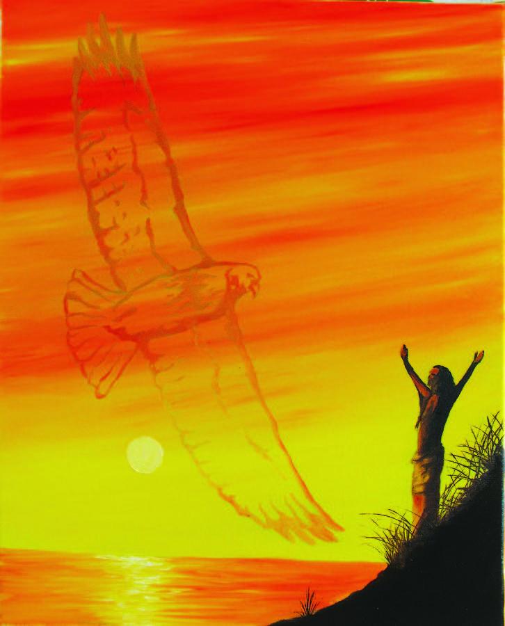Native American Painting - Hawk Spirit by Michael DeMusz