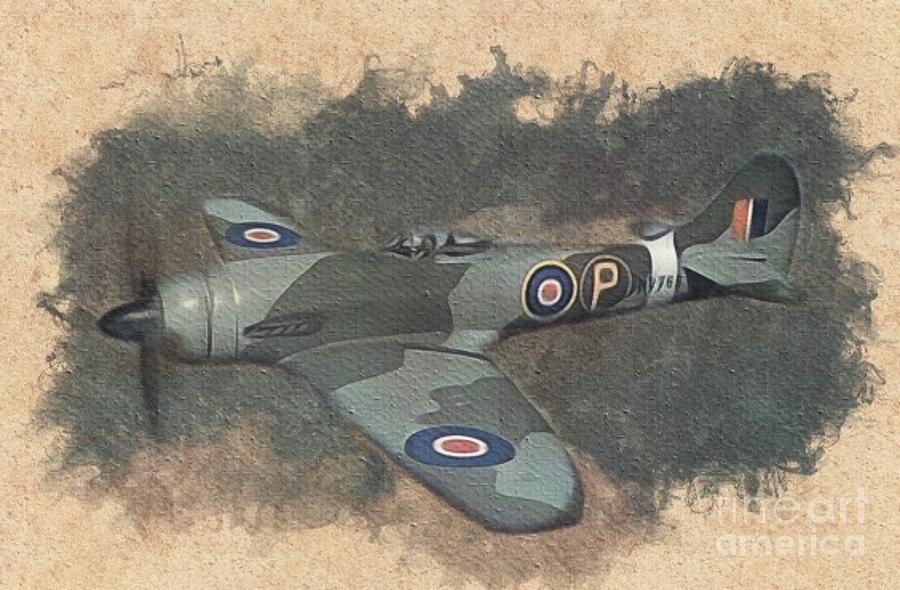 Spitfire Painting - Hawker Tempest Fighter by Esoterica Art Agency
