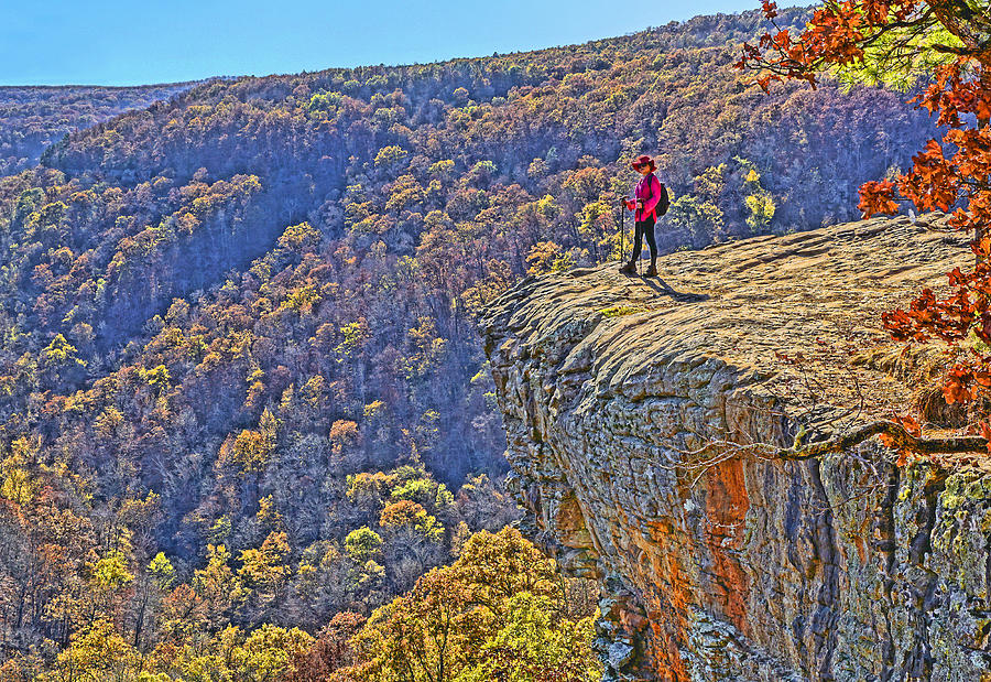Usa Photograph - Hawksbill Crag Hiker by Dennis Cox WorldViews