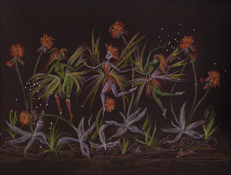 Fairies Drawing - Hawkweed Dance by Dawn Fairies
