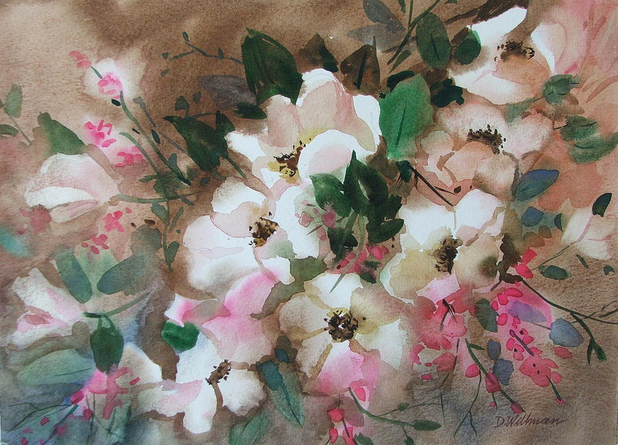 Spring Flowers Painting - Hawthorne Beauties by Dianna Willman