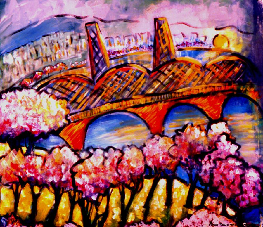 Landscape Painting - Hawthorne Bridge by Angelina Marino