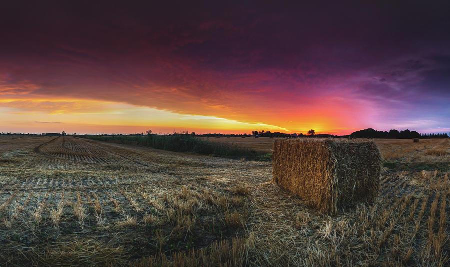 Hay At Sunrise - Panorama Photograph