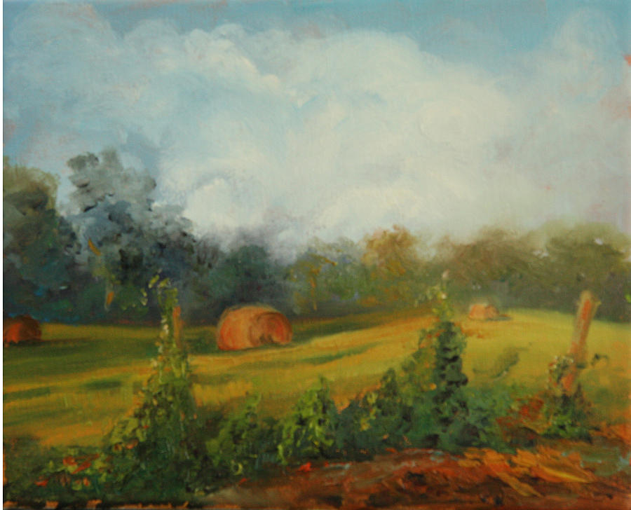 Oil Painting Painting - Hay Bales And Kudzu by Jill Holt