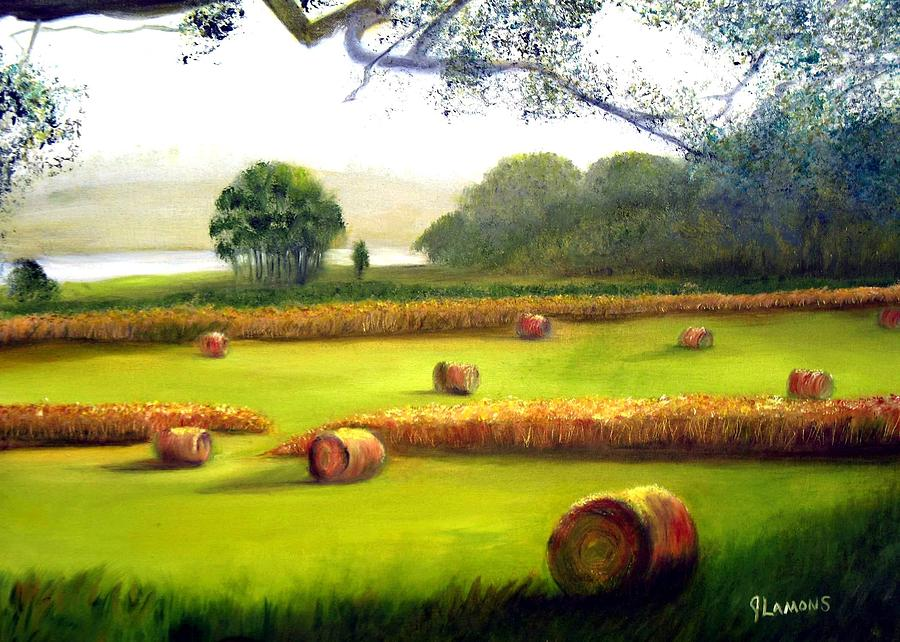 Landscape Painting - Hay Bales by Julie Lamons