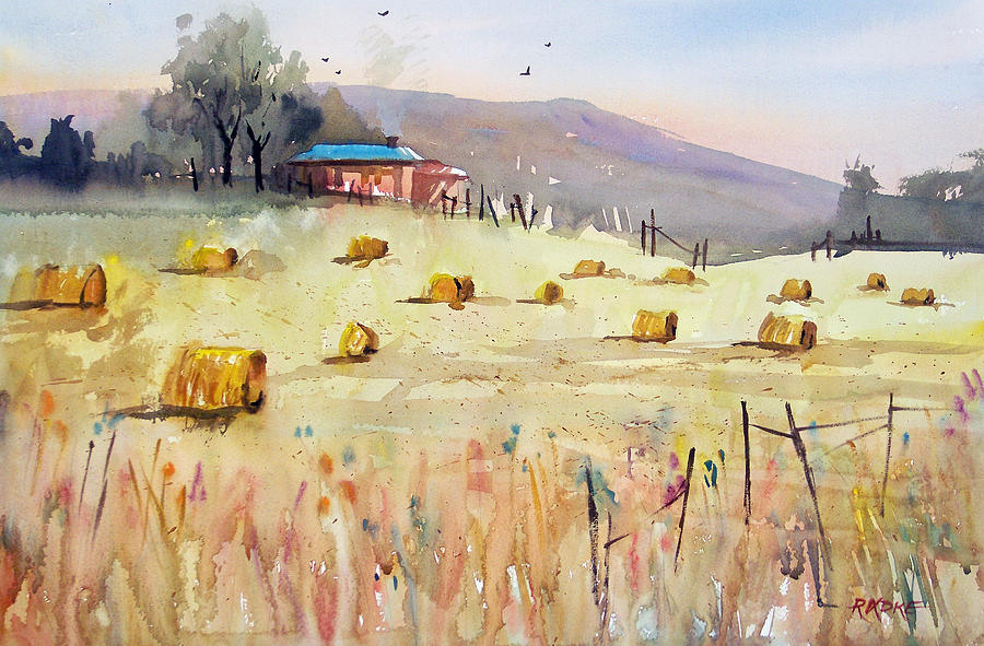 Watercolor Painting - Hay Bales by Ryan Radke