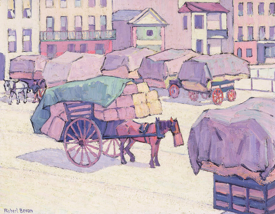 Hay Painting - Hay Carts - Cumberland Market by Robert Polhill Bevan