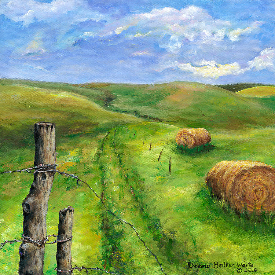 Hay Fields Painting By Donna Waite
