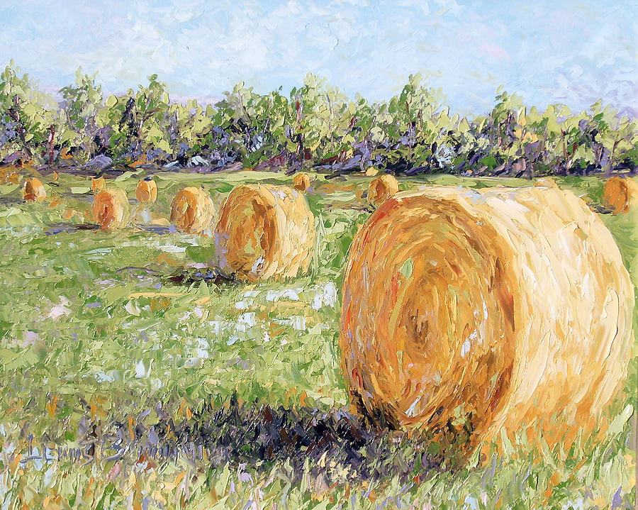 Hay Painting - Hay Rolls by Lewis Bowman