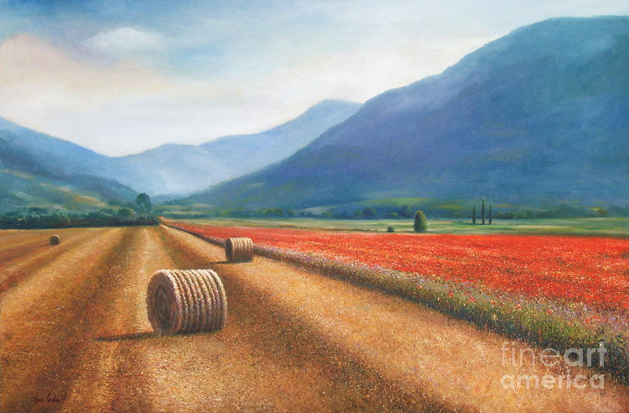 Poppies Painting - Haybales In Italy by Ann  Cockerill