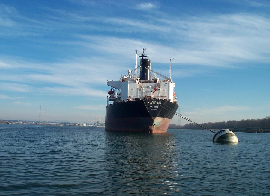 Ship Photograph - Haydar At Anchor by Alan Espasandin