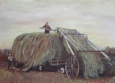 Good Old Days Painting - Hayloader by Clara  Bierman