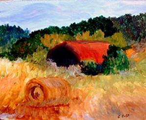Rural Painting - Hayrolls by Gail Kirtz