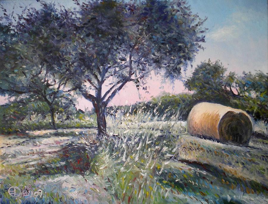 Haystacks Painting - Haystack In Orchid Riano Italy 2009 by Enver Larney