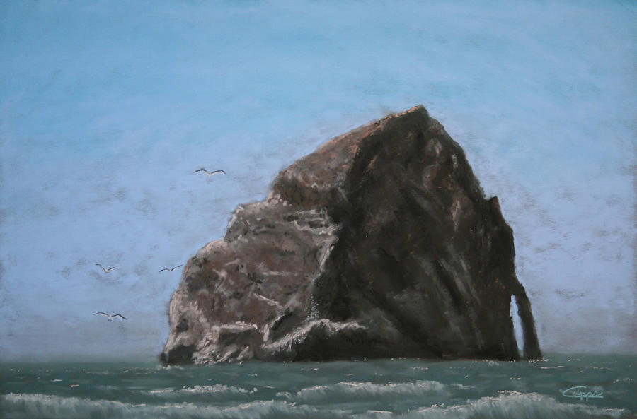 Seascape Painting - Haystack Rock  by Carl Capps