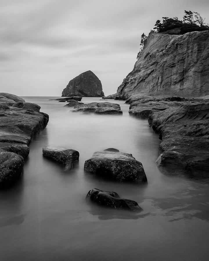 Haystack Rock in BW by Jedediah Hohf