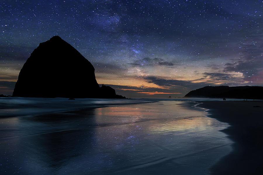 Haystack Rock Under Starry Night Sky by David Gn