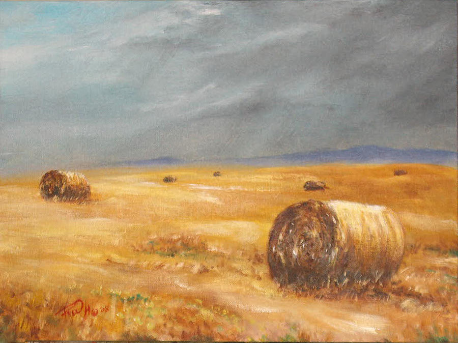 Landscapes Painting - Haystacks After The Rain by Rusty W Hinshaw